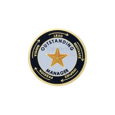 Image of an oustanding manager medal with a gold star in the center