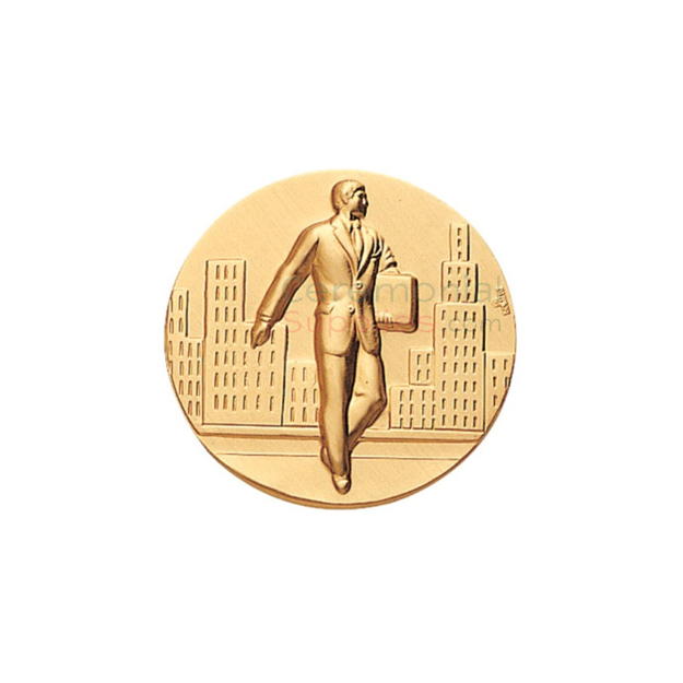 Salesman Achivement medal with a salesman walking on the street while holding a briefcase.
