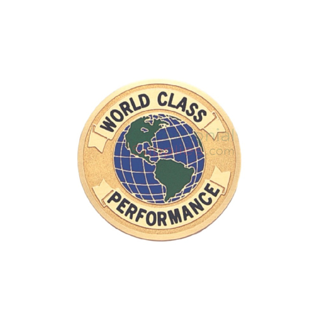 Image of a World Class Performance Medal that has a picture of the globe in the center.