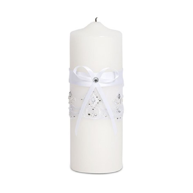 Image of a Ribbon and Lace Unity Candle.