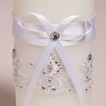 Close up view of a Ribbon and Lace Unity Candle.