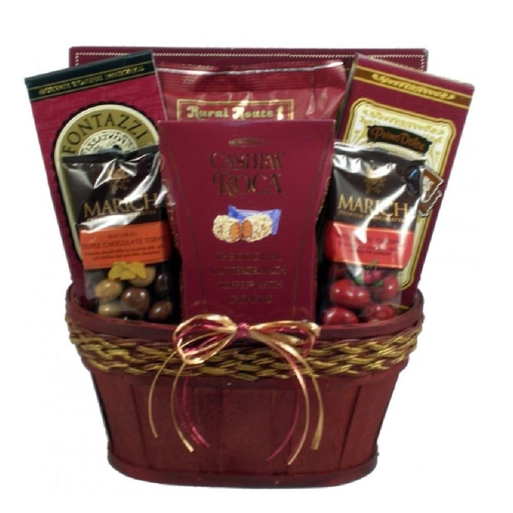 View of the burgandy version of the Taste of Elegance Gift Basket.