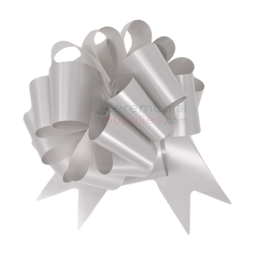 "Silver colored 8"" ceremonial ribbon cutting bow."