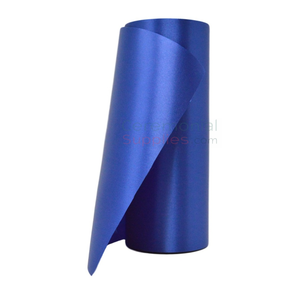 Royal blue ceremonial ribbon; 8 and 10 inch roll.