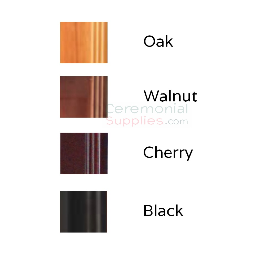 Wood color swatch options for ceremonial groundbreaking shovel display case.