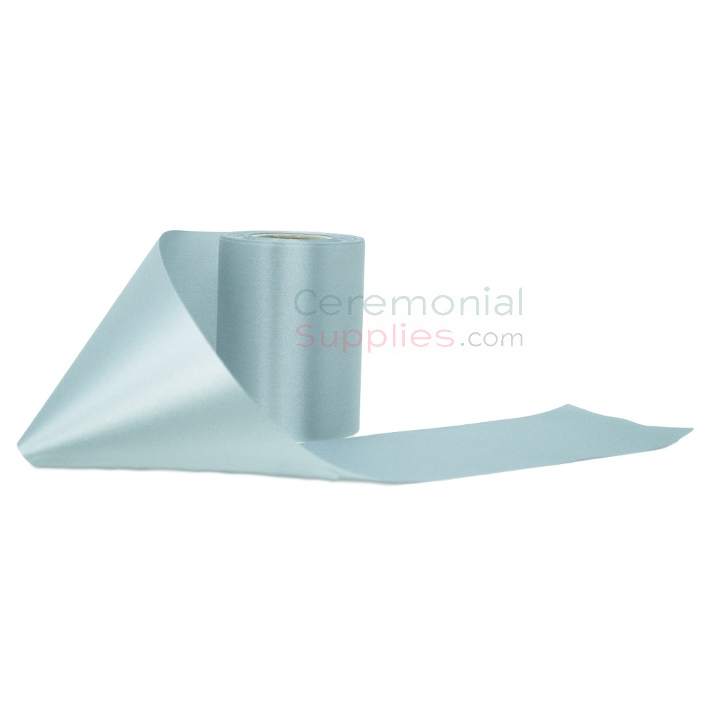 Alternate view of a roll of Sky Blue Grand Opening Ribbon.