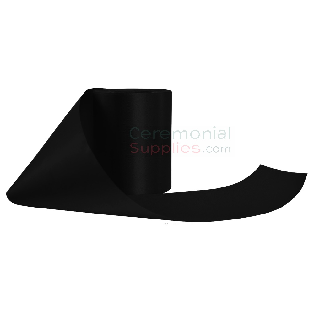 Alternate unrolled pose of a Gala Black Ceremonial Grand Opening Ribbon.