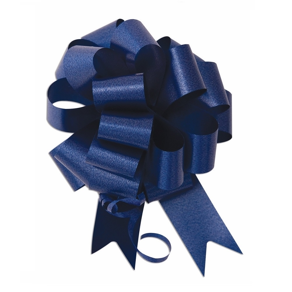 Picture of 8 inch Wide Brown Ceremonial Pull Bow in Navy Blue.