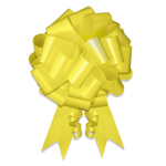 """Front view image of bright Yellow Ceremonial Pull Bow in 8"""" width."""
