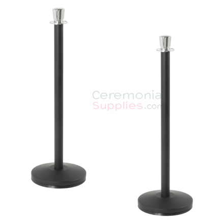 Elegant Black Stanchions with Chromed Urn Top