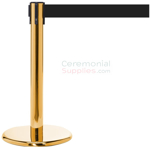 Photo of the luxury brass mini stanchions with the black retractable belt.