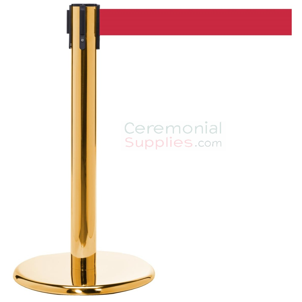 Photo of the luxury brass mini stanchions with the Red retractable belt.