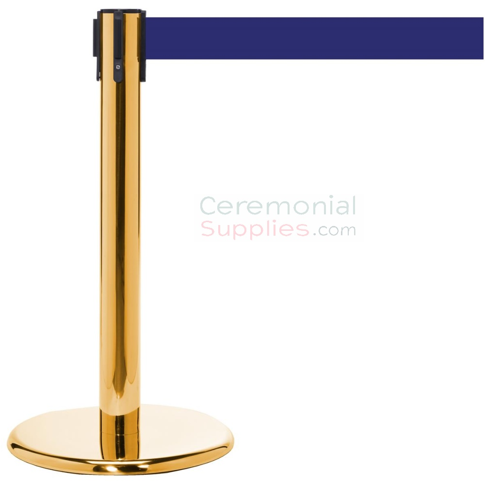 Photo of the luxury brass mini stanchions with the Blue retractable belt.