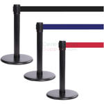 Photo of the Black Mini Stanchions With the Red, blue, and black retractable belt.