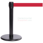 Photo of the Black Mini Stanchions With the red retractable belt.