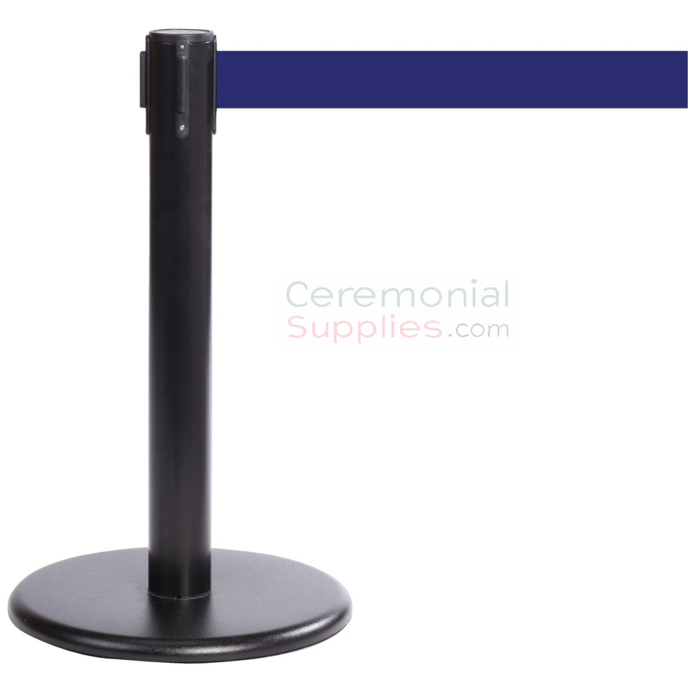 Photo of the Black Mini Stanchions With the blue retractable belt.