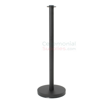 Photo of the Black Flat Top Stanchions with 4 Way Adapter.