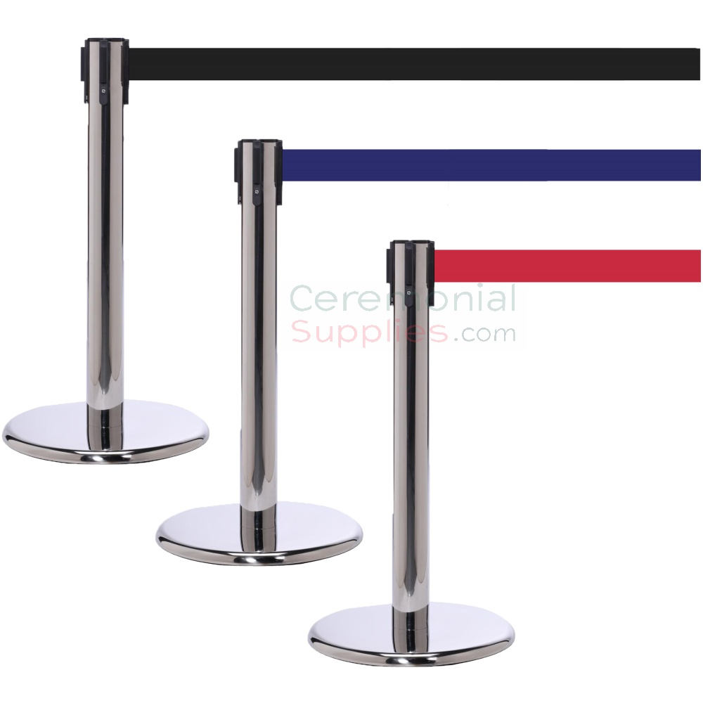 Photo of the luxury chrome mini stanchions with the blue, black, and red retractable belts.