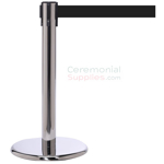 Photo of the luxury chrome mini stanchions with the black retractable belt.