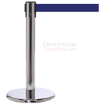 Photo of the luxury chrome mini stanchions with the blue retractable belt.