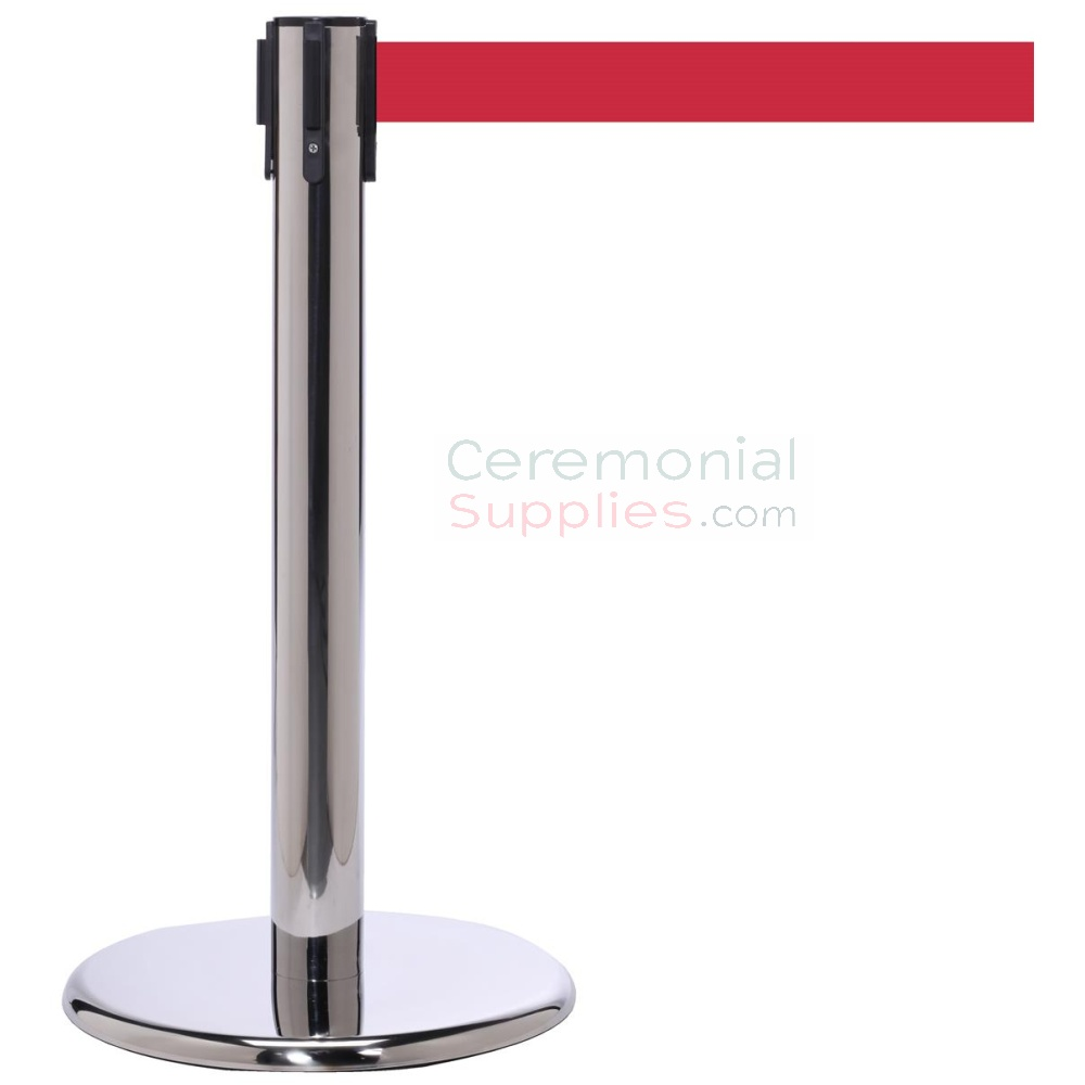 Photo of the luxury chrome mini stanchions with the red retractable belt.