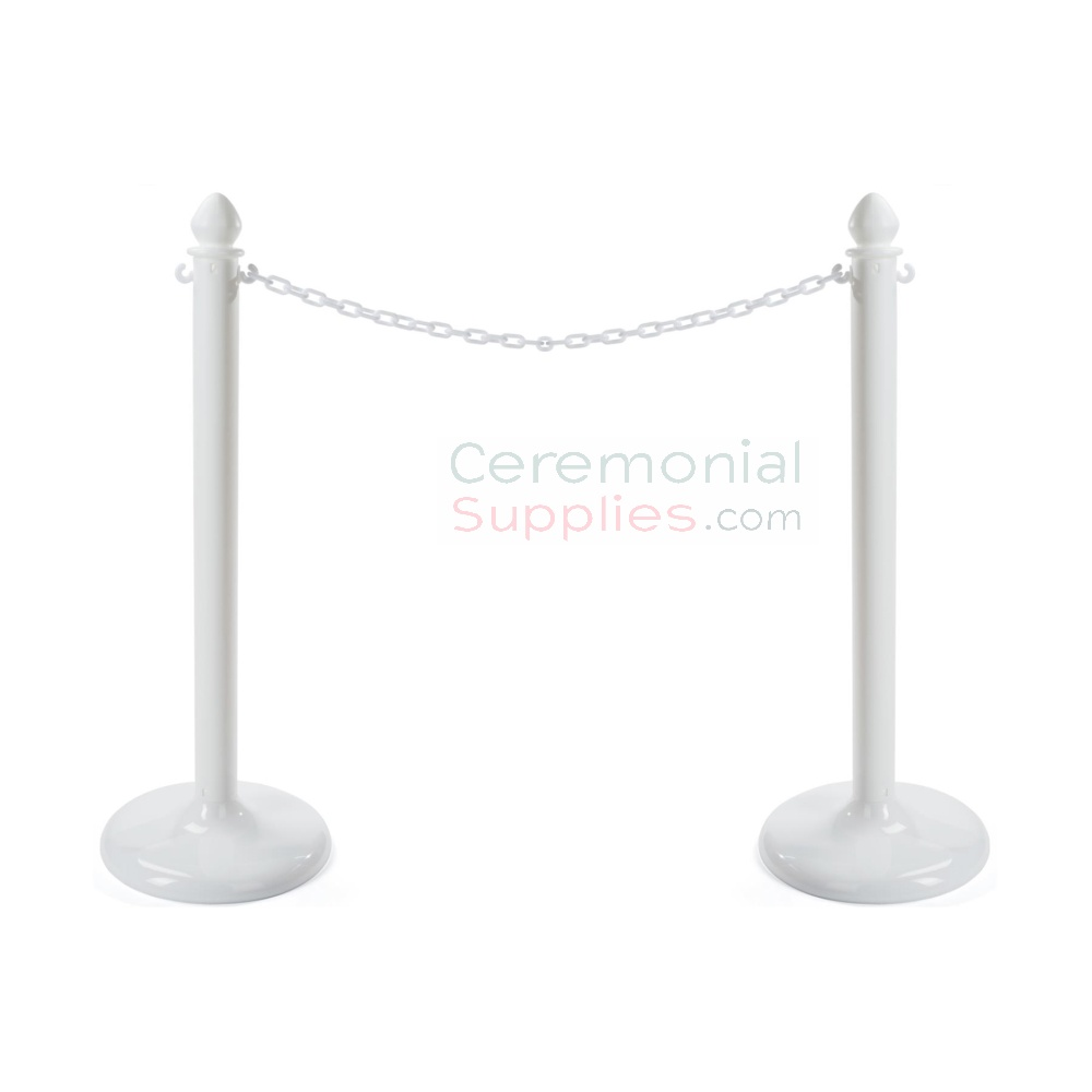 Photo of the white economy weatherproof plastic stanchions.