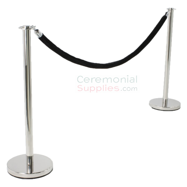 Photo of the Luxury Flat Top Stanchion and Black Rope Queue Management Set.