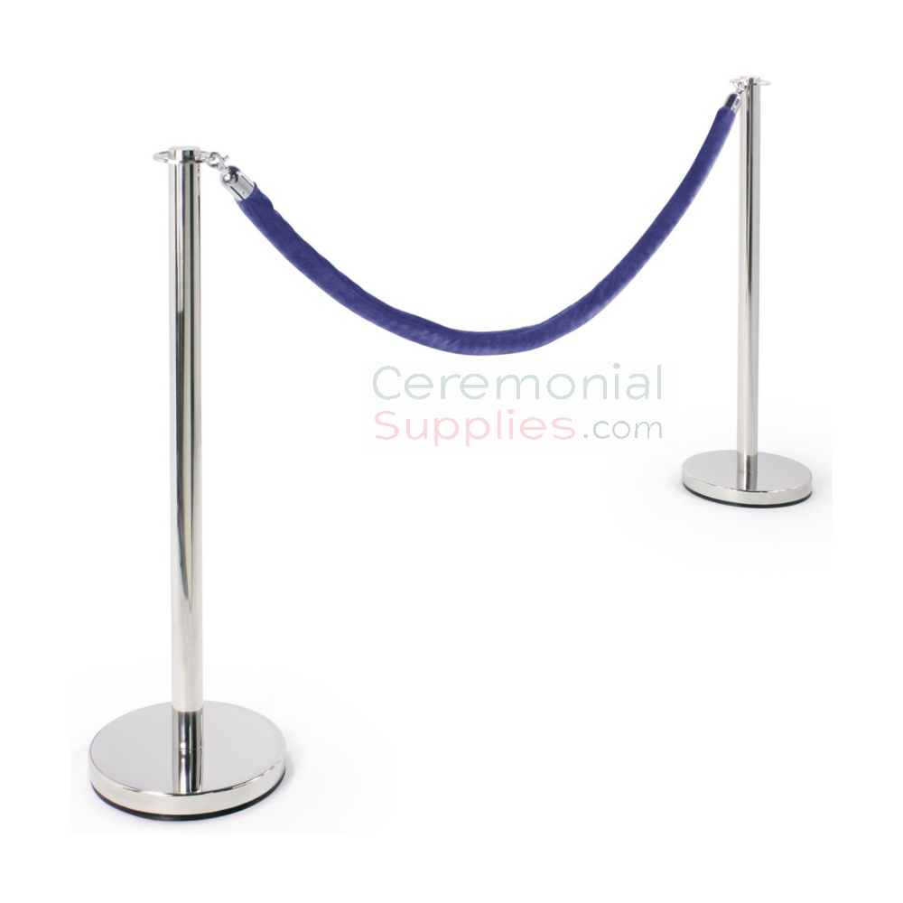 Photo of the Luxury Flat Top Stanchion and Blue Rope Queue Management Set.
