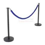 Photo of the Black Flat Top Stanchions and Blue Rope Set.