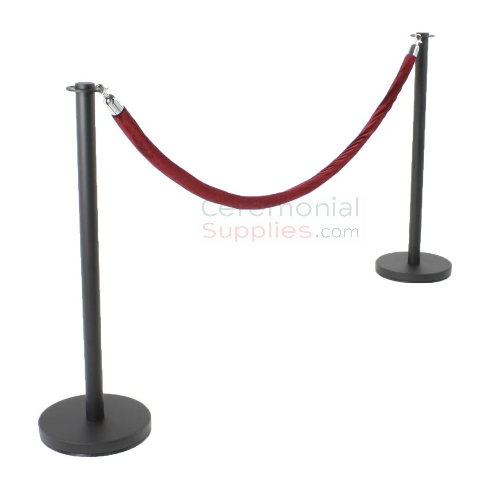 Photo of the Black Flat Top Stanchions and Red Rope Set.