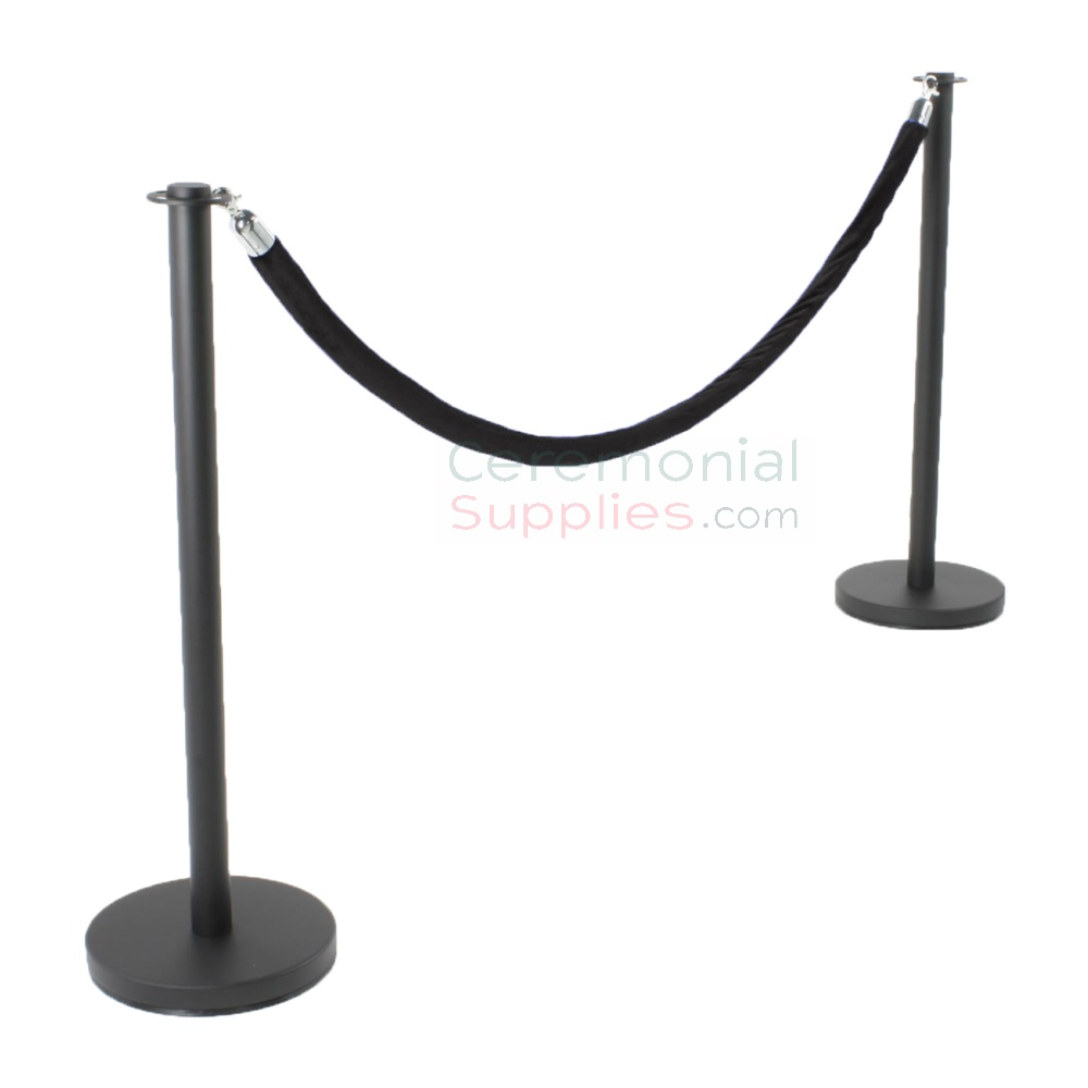 Photo of the Black Flat Top Stanchions and Black Rope Set.