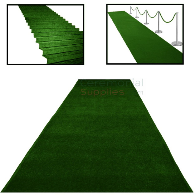 Main View of Green Ceremonial Event Runner with Examples.