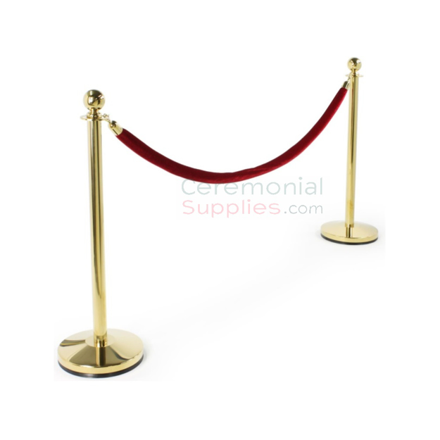 Picture of Two Luxury Brass Stanchions and One Red Rope