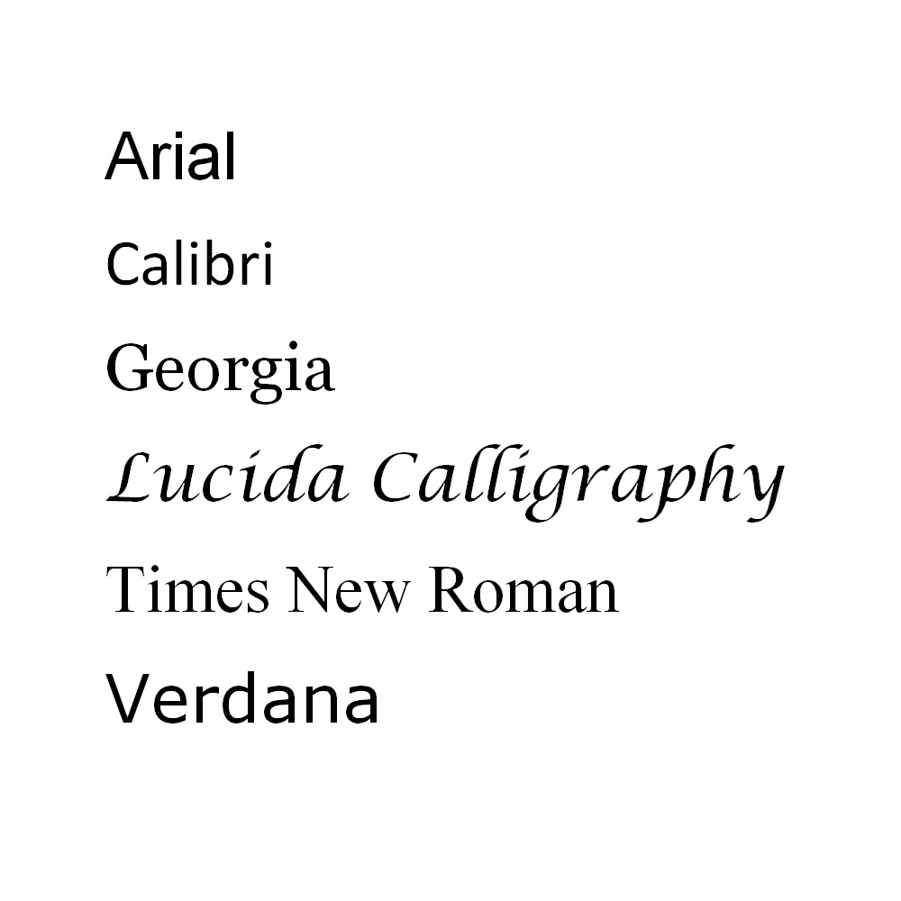 Samples of Standard Fonts to be Printed on Custom Ribbon.