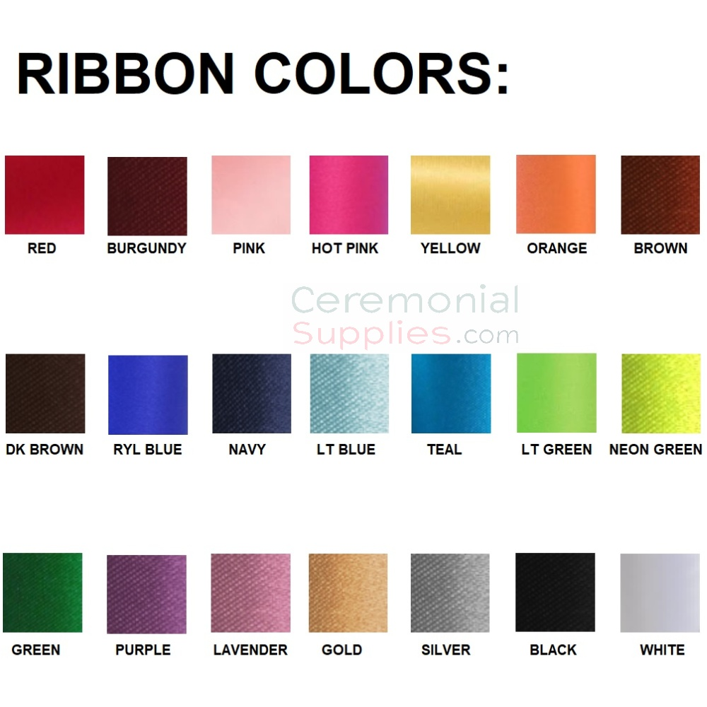 Card Displaying Ribbon Color Option Swatches.
