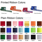 Picture of Printed Ribbon and Plain Ribbon Color Options.