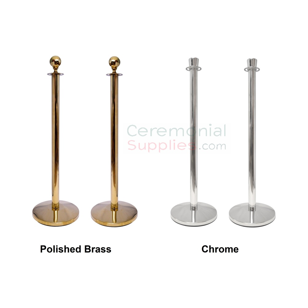 Picture of Brass vs Chrome Stanchions for Ribbon Cutting Kit.