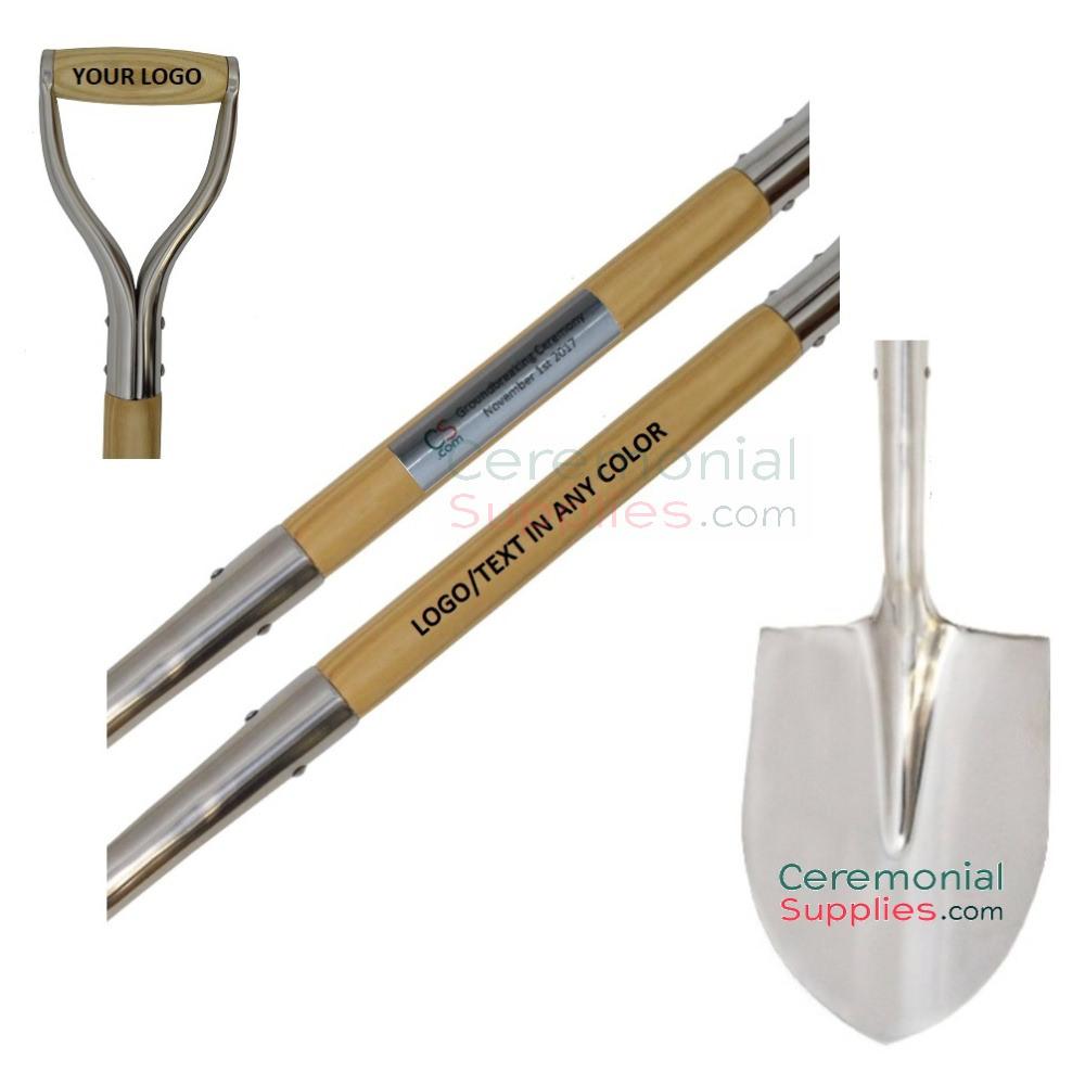 Ceremonial Chrome Groundbreaking Shovel with Custom Logo.