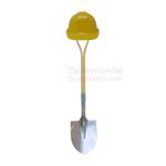 Yellow hard hat and stailess steel shovel Groundbreaking Basics Kit.