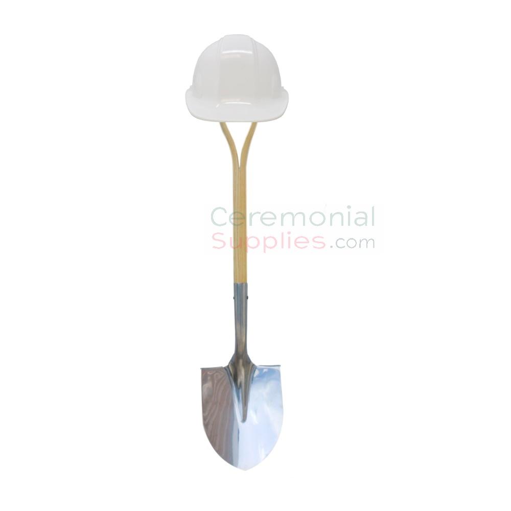 Image of White Groundbreaking Basics Kit with shovel.