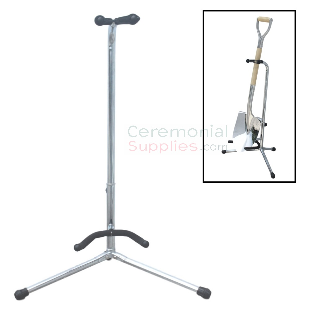 Alt Picture of Groundbreaking Shovel Display Stand in Chrome Finish.