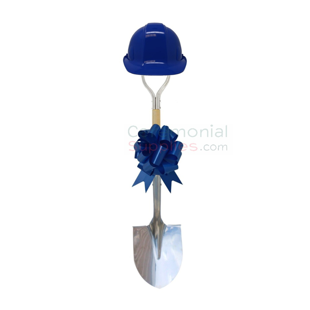 Photo of a Royal Blue Deluxe Ceremonial Shovel, Hard Hat And Bow Kit.