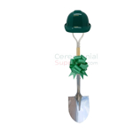 View of a Deluxe Ceremonial Shovel, Hard Hat And Bow Kit in green.