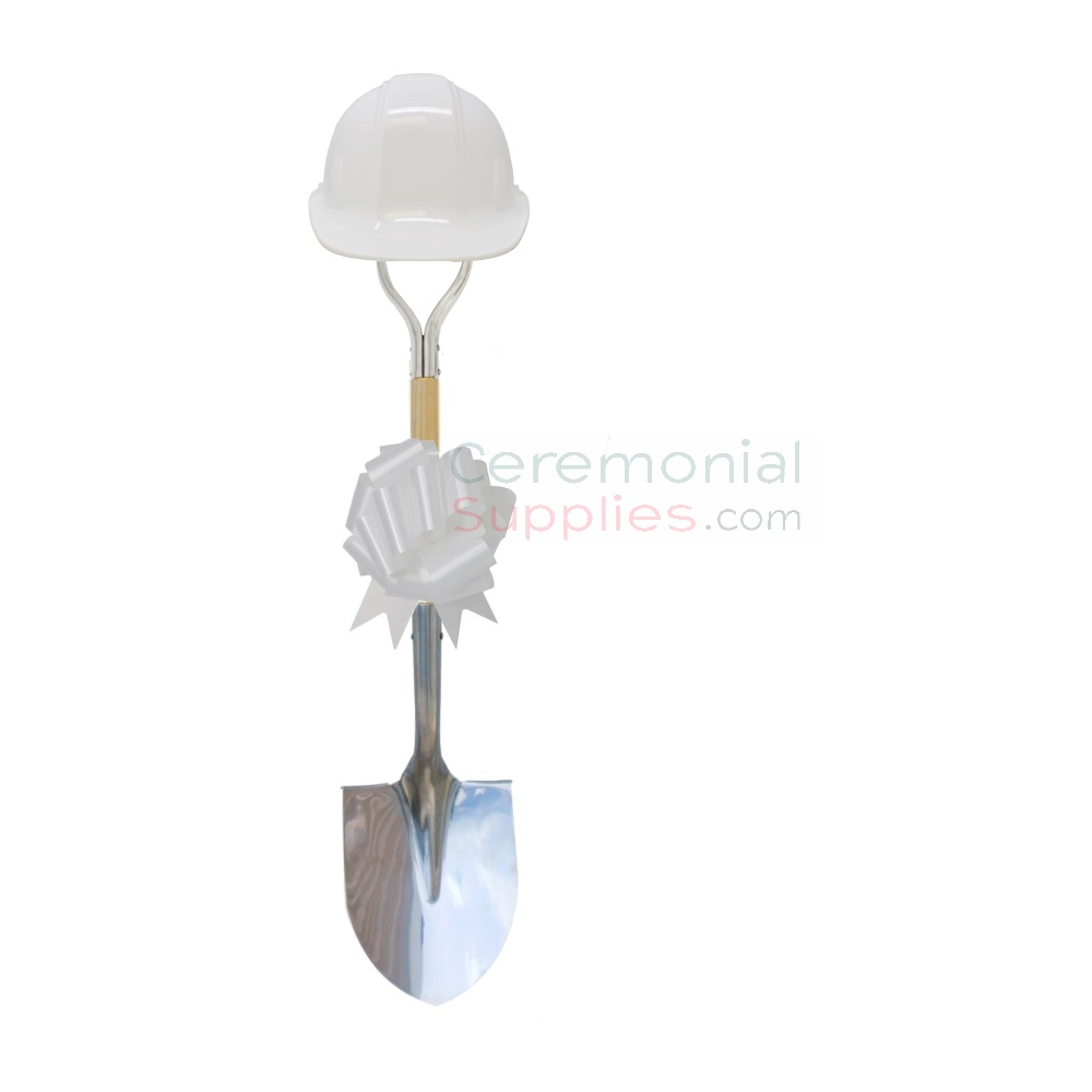 Photo of a Deluxe Ceremonial Shovel, Hard Hat And Bow Kit in White.