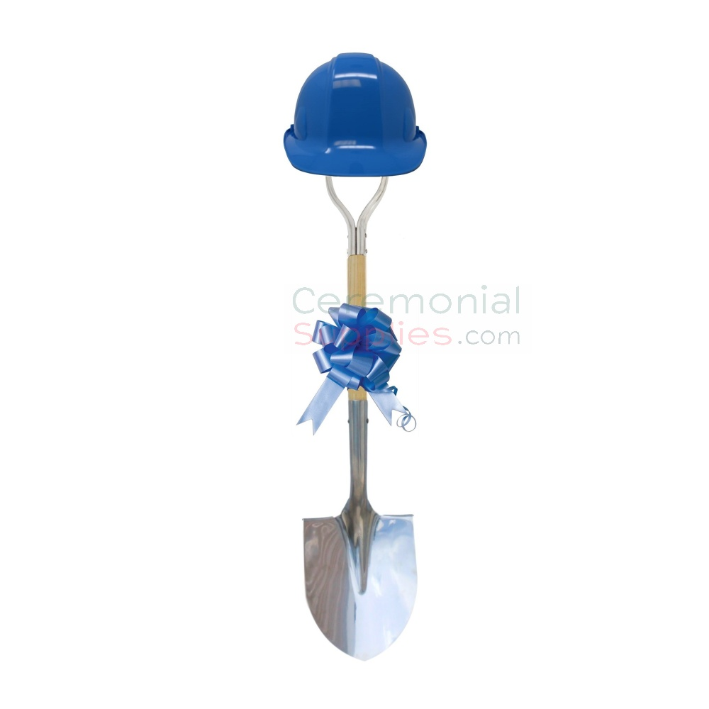 Picture of Deluxe Shovel Groundbreaking Kit with Light Blue Hard Hat and Bow.