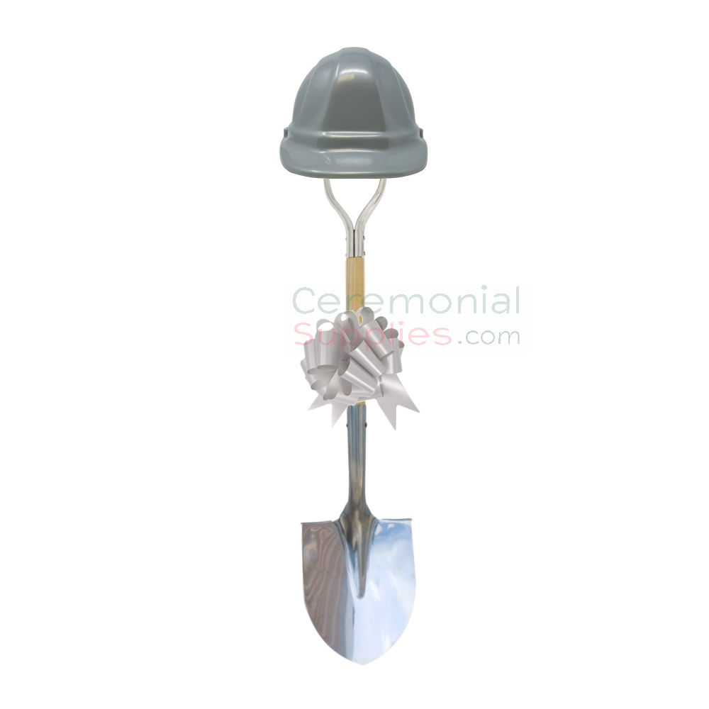 Silver Colored Hard Hat and Bow on Deluxe Groundbreaking Shovel Kit.