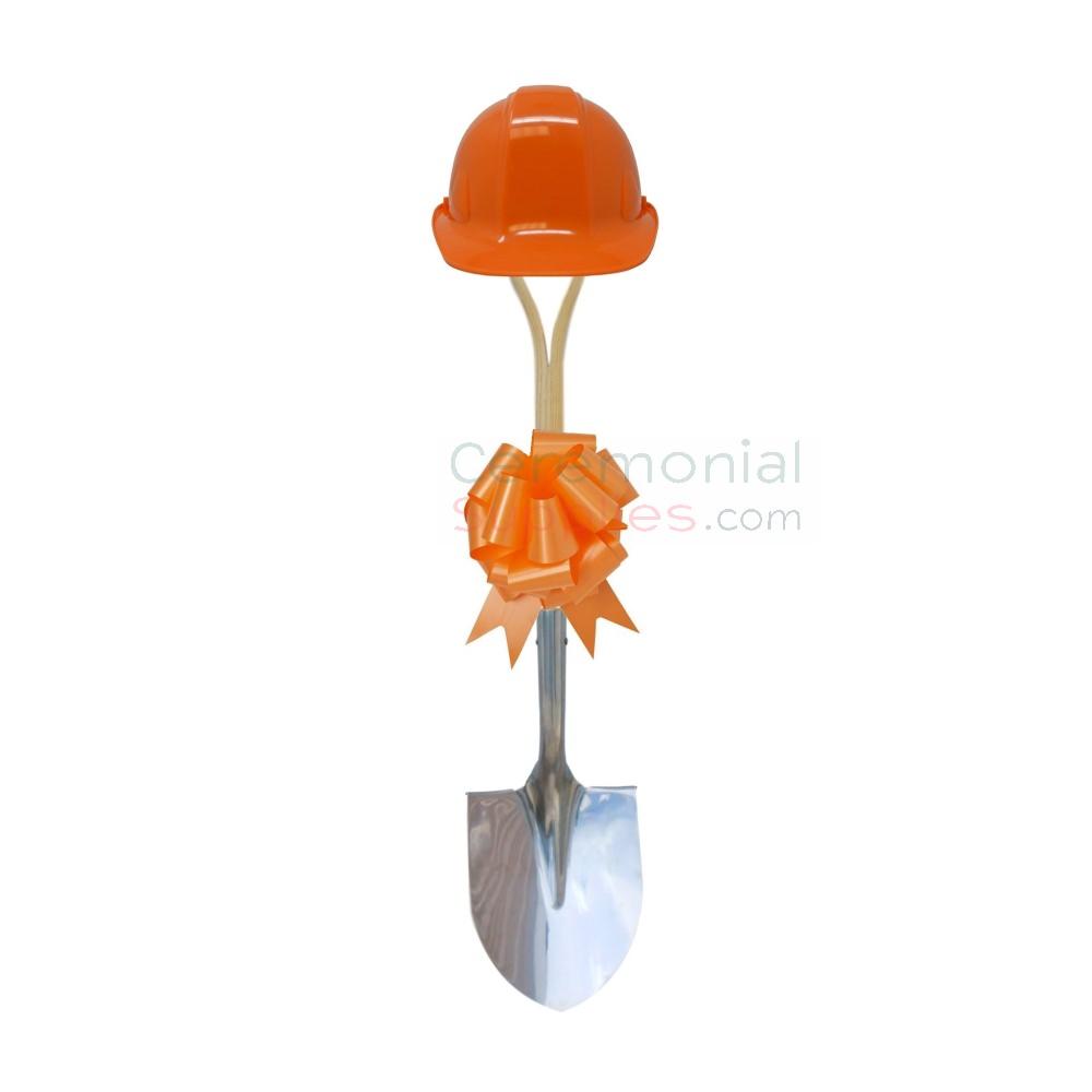 Orange groundbreaking kit in upright position.