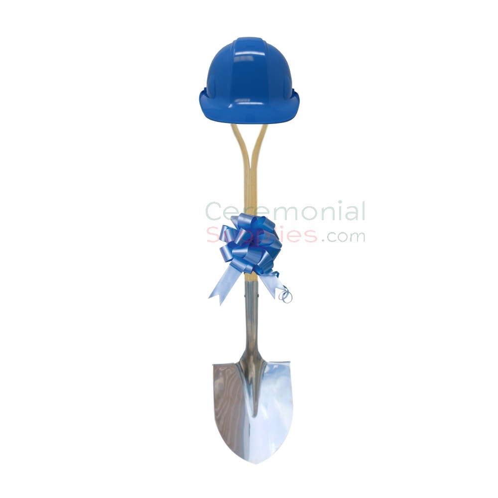 Light Blue Ceremonial Groundbreaking Kit with Hard Hat and Bow.
