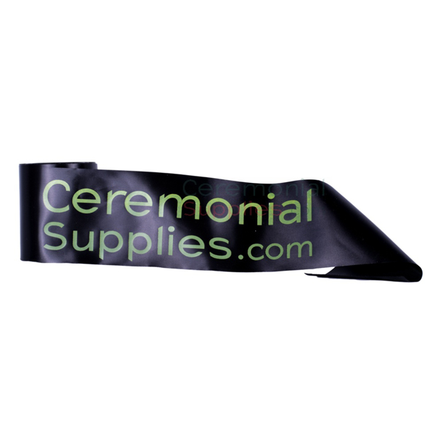 Picture of Black Ribbon Printed with Neon Green Text.