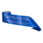Image of Royal Blue Ceremonial Ribbon with Matte Gold Print.